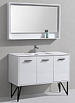 "Modern Lux 48"" High Gloss White Modern Bathroom Vanity w/ Quartz Countertop and Matching Mirror"