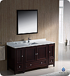 "Fresca Oxford 60"" Traditional Bathroom Vanity Mahogany Finish"