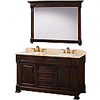 60 inch Bathroom Vanity Dark Cherry Finish  Solid Marble Top