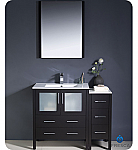 "42"" Espresso Modern Bathroom Vanity with Faucet and Linen Side Cabinet Option"