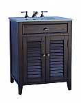 26 inch Adelina Cottage Brown Finish Bathroom Vanity