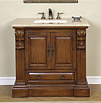Accord Antique 38 inch Single Sink Bathroom Vanity Travertine Top