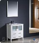 "Fresca Torino 30"" White Modern Bathroom Vanity with Faucet and Linen Side Cabinet Option"