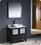 "36"" Espresso Modern Bathroom Vanity Vessel Single Sink with Faucet and Linen Side Cabinet Option"