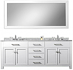 Daston White 72 inch Double Sink Bathroom Vanity White Marble Countertop