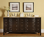 Accord Contemporary 72 inch Double Bathroom Vanity Travertine Top
