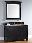 "James Martin Brookfield Collection 48"" Single Vanity with Drawers, Antique Black"
