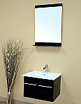Bella 24 inch Bathroom Vanity Black Finish White Ceramic Top
