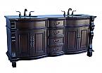 Adelina 72 inch Antique Double Bathroom Vanity Brown Marble Top