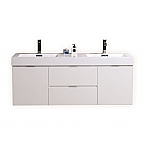 60 inch Wall Mount Double Sink Modern Bathroom Vanity Gloss White Finish