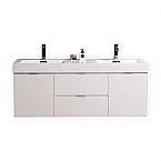 "Kubebath Bliss 60"" Double Sink High Gloss White Wall Mount Modern Bathroom Vanity"