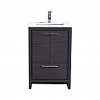24 inch Gray Oak Modern Bathroom Vanity with White Quartz Countertop