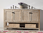 """Dora Soo Collection 60"""" Solid Wood Sink Vanity With Marble Top White Wash Finish"""