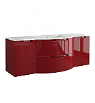 Anity 57 inch Modern Floating Bathroom Vanity Red Finish