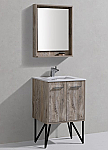 "Modern Lux 24"" Nature Wood Bathroom Vanity w/ Quartz Countertop and Matching Mirror"