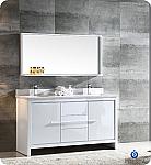 "Allier 60"" Modern Double Sink Bathroom Vanity Glossy White Finish"