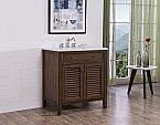 "32"" Adelina Cottage Style Single Sink Bathroom Vanity with Italian Carrara Marble Countertop and Walnut Finish"
