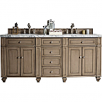 72 inch Modern Traditional Double Sink Bathroom Vanity Whitewash Walnut finish, top optional