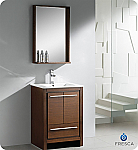 "Fresca Allier 24"" Wenge Brown Bathroom Vanity with Mirror"