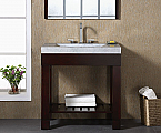 "24"" Modern Bathroom Vanity - Dark Walnut Finish with Top and Mirror Options"