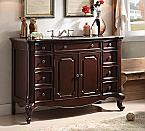 48 inch Adelina Antique Bathroom Vanity Dark Cherry Finish White Marble Top