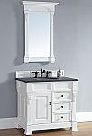 Abstron 36 inch White Finish Single Sink Traditional Bathroom Vanity Optional Countertop
