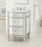 26 inch Adelina Mirrored Bathroom Vanity Marble Top