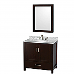 "Sheffield 36"" Single Bathroom Vanity in Espresso with Countertop, Undermount Sink, and Mirror Options"