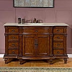 Accord Antique 60 inch Bathroom Single Sink Vanity Chestnut Finish