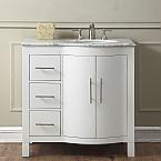 36 inch Single Sink Bathroom Vanity Cabinet White Finish, Carrara White Marble Top