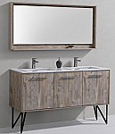 "Modern Lux 60"" Nature Wood Double Sink Modern Bathroom Vanity w/ Quartz Countertop and Matching Mirror"
