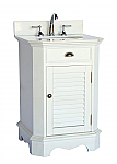 24 inch Adelina Cottage White Finish Bathroom Vanity