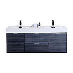 "Modern Lux 60"" Double Sink Gray Oak Wall Mount Modern Bathroom Vanity"