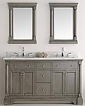 60 inch Antique Silver Double Sink Bathroom Vanity with Mirror