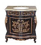 "Adelina Antique Hand Painted 33"" Wide Single Bowl Bathroom Vanity in Antique Black"