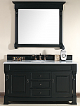 60 inch Black Finish Single Traditional Bathroom Vanity Optional Countertop
