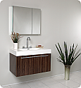 Fresca 36 inch Walnut Modern Bathroom Vanity