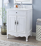 26 inch Adelina Cottage Style White Finish Bathroom Vanity Crystal White Marble Top