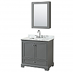 36 inch Transitional Dark Grey Finish Bathroom Vanity Set