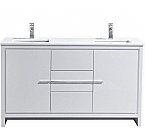 60 inch White Modern Double Sink Bathroom Vanity with White Quartz Countertop
