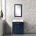 Daston 30 inch Monarch Blue Single Sink Bathroom Vanity Carrara Marble Countertop