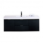 "Modern Lux 60"" Single Sink Black Wall Mount Modern Bathroom Vanity"