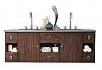 60 inch Floating Double Sink Bathroom Vanity Coffee Oak Finish