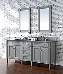 72 inch Contemporary Double Sink Bathroom Vanity Gray Finish Optional Tops