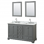 60 inch Double Sink Transitional Grey Finish Bathroom Vanity Set