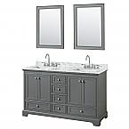 60 inch Double Sink Transitional Grey Finish Bathroom Vanity Set