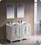"48"" Antique White Traditional Double Sink Bathroom Vanity with Top, Sink, Faucet and Linen Cabinet Option"