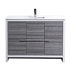 48 inch Ash Gray Modern Bathroom Vanity with White Quartz Countertop