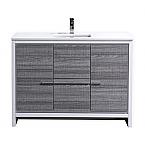 48 inch Ash Gray Modern Bathroom Vanity with White Quartz Countertop