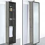 April Rotating Floor Linen Cabinet Gray Oak Finish with Mirror